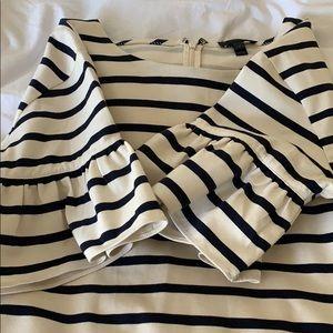 J Crew Stripe Flitter Sleeve Dress